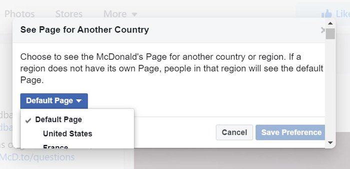 mcdonald's country merge Facebook accounts